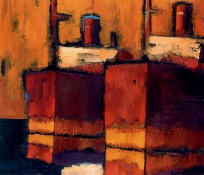 Γιάννης Σταύρου, Κόκκινα καράβια, λάδι σε καμβά, 80Χ100 cm