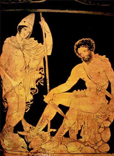 Ο Οδυσσέας και ο μάντης Τειρεσίας στον Άδη