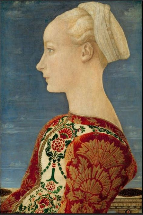 Profile Portrait of a Young Lady 1465 Antonio del Pollaiuolo  Oil on poplar wood Width : 36.50 cm Located in: Room XVIII